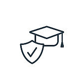 Education insurance outline vector icon. Thin line black education insurance icon, flat vector simple element illustration from editable insurance concept isolated on white background.