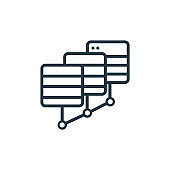 Data center outline vector icon. Thin line black data center icon, flat vector simple element illustration from editable networking concept isolated on white background.