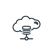 Cloud storage outline vector icon. Thin line black cloud storage icon, flat vector simple element illustration from editable networking concept isolated on white background.