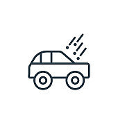 Hail on the car outline vector icon. Thin line black hail on the car icon, flat vector simple element illustration from editable insurance concept isolated on white background.