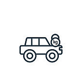 Excessive weight for the vehicle outline vector icon. Thin line black excessive weight for the vehicle icon, flat vector simple element illustration from editable insurance concept isolated on white.