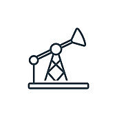 Oil pump outline vector icon. Thin line black oil pump icon, flat vector simple element illustration from editable industry concept isolated stroke on white background.
