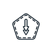Down outline vector icon. Thin line black down icon, flat vector simple element illustration from editable interface concept isolated stroke on white background.
