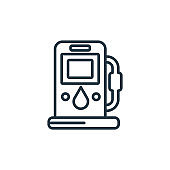 Fuel filling outline vector icon. Thin line black fuel filling icon, flat vector simple element illustration from editable industry concept isolated stroke on white background.
