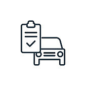 Car repair check outline vector icon. Thin line black car repair check icon, flat vector simple element illustration from editable mechanicons concept isolated stroke on white background.