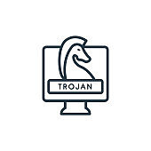 Trojan outline vector icon. Thin line black trojan icon, flat vector simple element illustration from editable internet security concept isolated on white background.