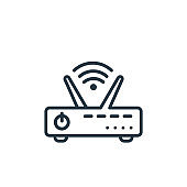 Router outline vector icon. Thin line black router icon, flat vector simple element illustration from editable networking concept isolated on white background.