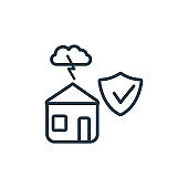 House insurance for storms outline vector icon. Thin line black house insurance for storms icon, flat vector simple element illustration from editable insurance concept isolated on white background.
