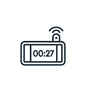 Digital clock outline vector icon. Thin line black digital clock icon, flat vector simple element illustration from editable electronic devices concept isolated on white background.