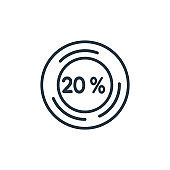 Percentage outline vector icon. Thin line black percentage icon, flat vector simple element illustration from editable infographics concept isolated stroke on white background.