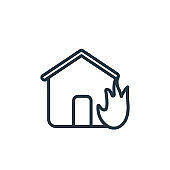 House on fire outline vector icon. Thin line black house on fire icon, flat vector simple element illustration from editable insurance concept isolated on white background.