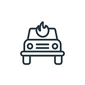 Burning car outline vector icon. Thin line black burning car icon, flat vector simple element illustration from editable insurance concept isolated on white background.