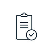 Check mark outline vector icon. Thin line black check mark icon, flat vector simple element illustration from editable education concept isolated stroke on white background.
