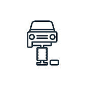 Changing car tire outline vector icon. Thin line black changing car tire icon, flat vector simple element illustration from editable mechanicons concept isolated stroke on white background.
