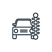 Car front view beside a traffic meter outline vector icon. Thin line black car front view beside a traffic meter icon, flat vector simple element illustration from editable mechanicons concept.