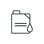 Oil can with big drop outline vector icon. Thin line black oil can with big drop icon, flat vector simple element illustration from editable mechanicons concept isolated stroke on white background.