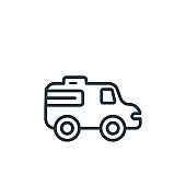 Emergency car facing right outline vector icon. Thin line black emergency car facing right icon, flat vector simple element illustration from editable mechanicons concept isolated stroke on white.