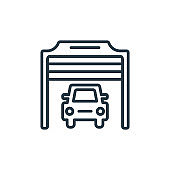 Car in a garage outline vector icon. Thin line black car in a garage icon, flat vector simple element illustration from editable mechanicons concept isolated stroke on white background.