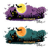 Halloween night background with a moon, haunted house, cemetery, pumpkins and a flying witch