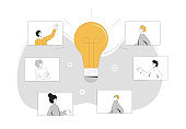 Online meeting. Remote teamwork. People talking to each other online and brainstorming. Internet webinar or online video training. Vector line art flat illustration.