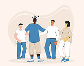 Group of diverse teenagers standing together. Young female and male friends wearing in casual clothes. Boys and girls hugging each other. Vector line illustration.