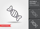 Hard candy. Line icon with editable stroke with shadow