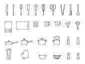 Line icon set for kitchen items
