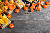 Background for a Happy Halloween party. Flat lay happy halloween. Copy space. Top view.