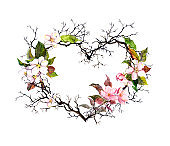 Heart shape. Branches, apple blossom, sakura flowers. Watercolor floral wreath for wedding, spring card