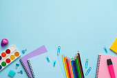 School stationery on the blue background