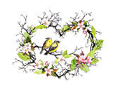 Heart shape with twigs, spring flowers, leaves and two birds. Watercolor floral wreath for wedding