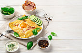 Breakfast with pancake, egg and bacon on a light background. Breton crepe