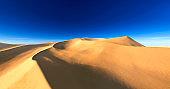 Beautiful sand dunes. Desert landscape with sun. Desert landscape panorama. sunset or sunrise over the sands, 3D rendering