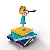 3d illustration cartoon schoolgir. Education and back to school concept