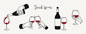 Drinking wine vector illustration set. Two hands with glasses, hand pouring wine, bottle, savoring a drink. Hand drawn style. Design elements for poster, menu, label.