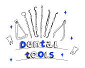 Dental tools and instruments set in doodle style.Line art banner.Orthodontic prosthetics and filling,drill bit,treatment of diseases of oral cavity and caries.
