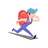 Running courier, metaphor - delivery of happiness, the guy carries a gift in the shape of a heart