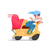 Cheerful guy on a scooter, a delivery man of hearts.