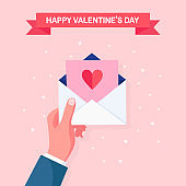 Sending, receive love letter, message by postal Happy valentines day Envelope with red heart in hand. Vector illustration
