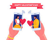Sweet couple send love letter to each other by phone Happy valentines day Smartphone with sms, email. Vector illustration