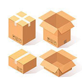 Set of 3d isometric carton, cardboard box isolated on white background. Transportation package in store, distibution concept. Vector cartoon design