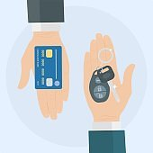 Buy or rent a car. Human hand holds auto key and credit card. Vector illustration