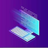 Software development, programming language, coding. Isometric computer with digital application. Vector illustration