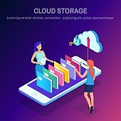 Cloud storage technology. Data backup. Isometric woman, phone, folders. Hosting service for website