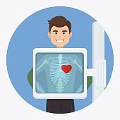 X-ray machine for scanning human body. Roentgen of chest bone. Heart diagnosis. Medical examination of cardiac disease for surgery. Ultrasound of organs. Vector illustration