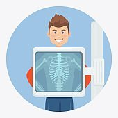 X-ray machine for scanning human body. Roentgen of chest bone. Medical examination for surgery. Vector illustration
