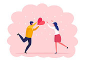 Sweet couple with red heart. Happy valentines day. Man and woman in love. Vector illustration