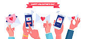 Sending or receive love letter, message, sms by phone. Happy valentines day. Envelope with red heart. Vector illustration