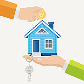 Buying a house. Real estate and Home for Sale concept. Vector illustration. Flat style