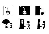Set of Rubber tree tapping icon and symbol, vector